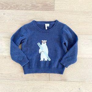 Janie and jack ski polar bear sweater blue size 2T